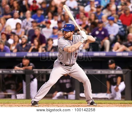 DENVER-AUG 21: New York Mets infielder Daniel Murphy waits for a pitch during a game against the Colorado Rockies at Coors Field on August 21, 2015 in Denver, Colorado.