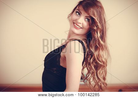 Portrait Of Happy Young Woman In Lingerie In Bed.