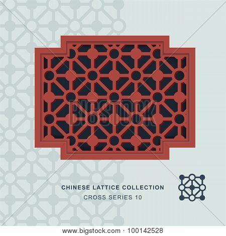 Chinese window tracery lattice cross frame 10 diamond circle