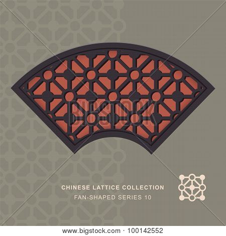 Chinese window tracery lattice fan shaped frame 10 diamond circle