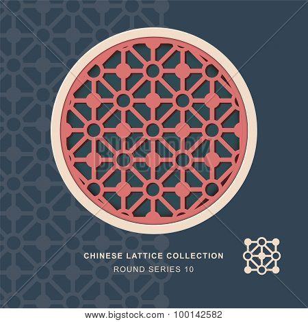 Chinese window tracery lattice round frame 10 diamond circle