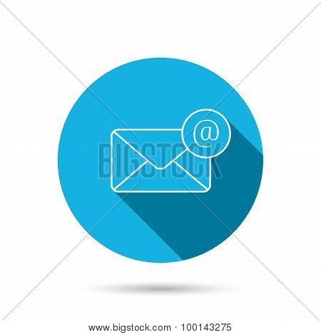 Envelope mail icon. Email message with AT sign.