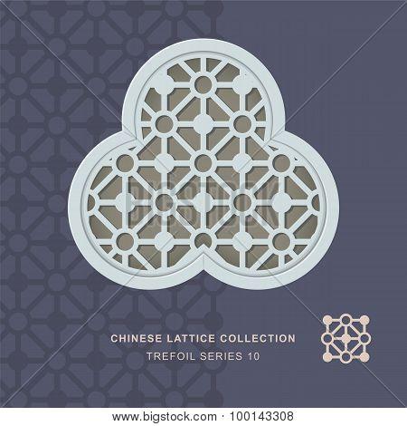Chinese window tracery lattice trefoil frame 10 diamond circle