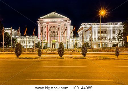 Government building by night in Skopje