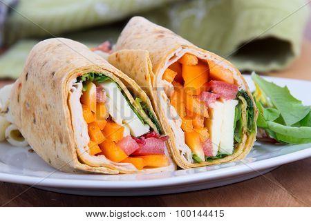 Sandwich Tortilla Wrap Closeup