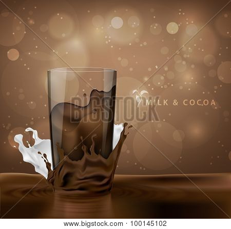 splashes of milk with cocoa and chocolate