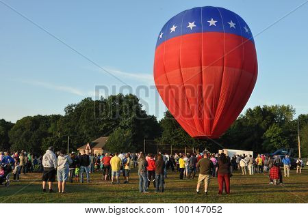 Balloon launch at dawn at the 2015 Plainville Fire Company Hot Air Balloon Festival