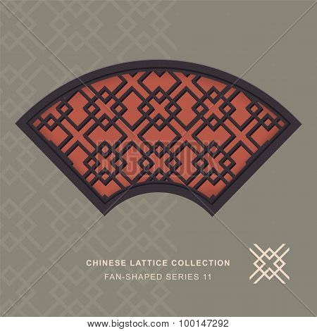 Chinese window tracery lattice fan shaped frame 11 diamond cross