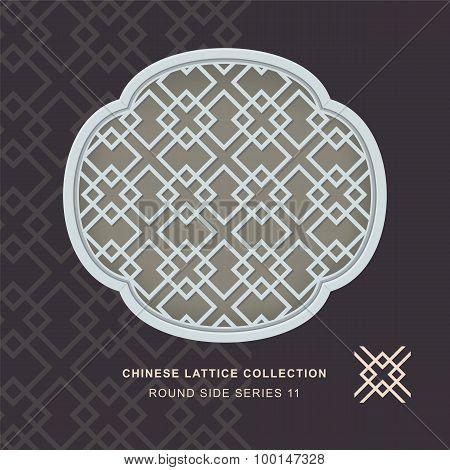 Chinese window tracery lattice round side frame 11 diamond cross