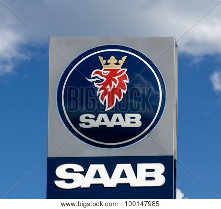 Saab Automobile Dealership And Sign