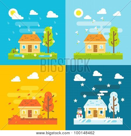 4 Seasons House Flat Design Set