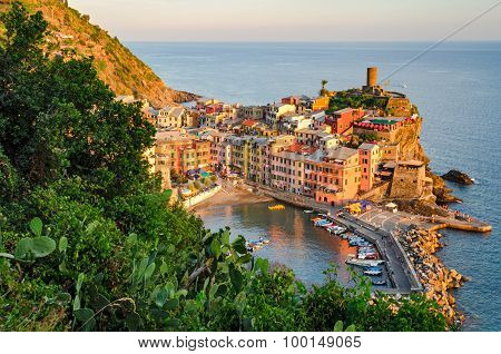 Vernazza, Cinque Terre (italian Riviera, Liguria) At Sunset