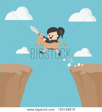 Business Woman Riding Over Obstacles.