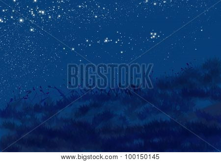 Night View Painting Abstract Blue Background