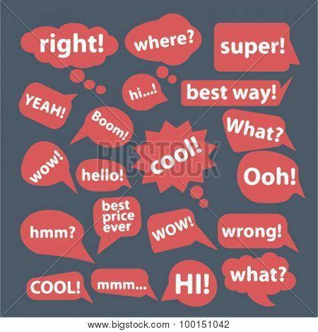 speech, bubbles, say, hello concept icons, signs set, vector