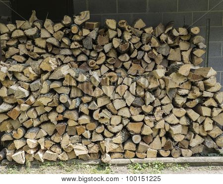 Freshly Splir Firewood Stacked Neatly