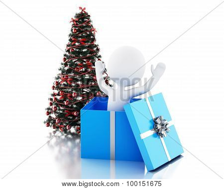 3D White People Inside A Gift Box And Christmas Tree