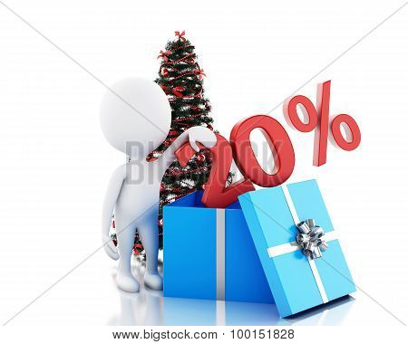 3D Box With 20 Percent Text And Christmas Tree