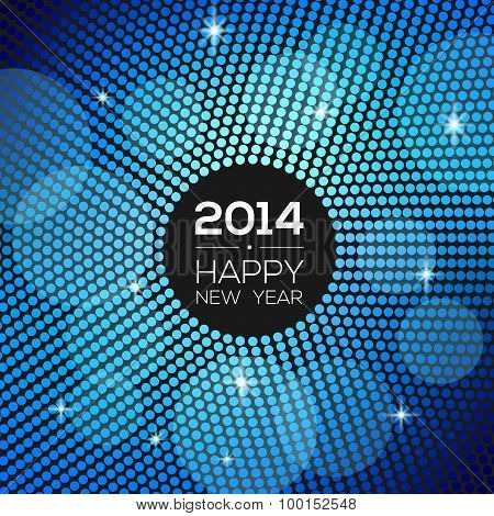 Happy New Year 2014 - blue disco lights frame