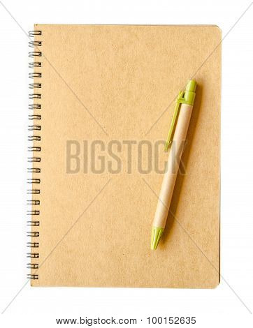 Recycle Brown Paper Notebook And Pen
