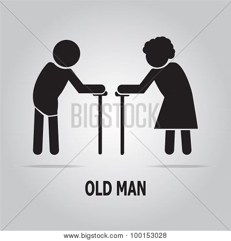 Elderly Symbol. Old People Illustration