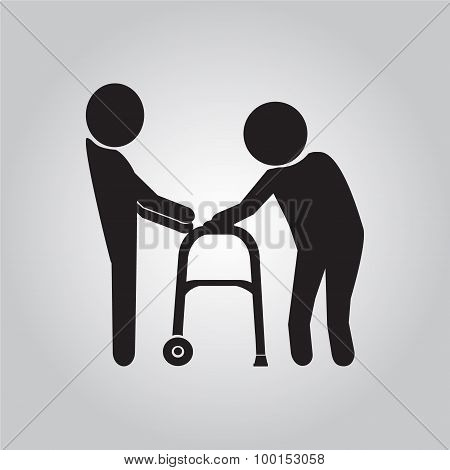 Man Helps Elderly Patient With A Walker