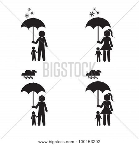 Person Holding Umbrella And Child Illustration