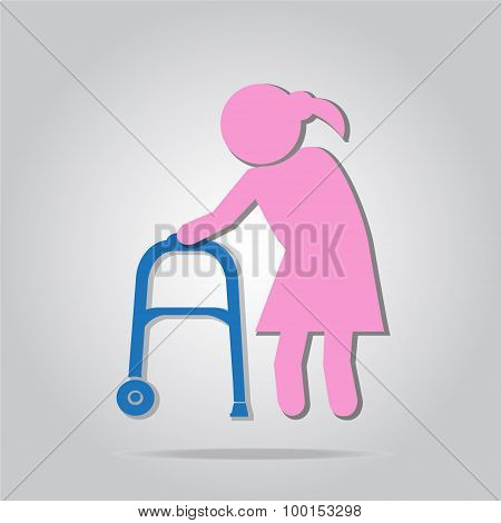 Elderly Woman And Walker Symbol, Icon  Illustration
