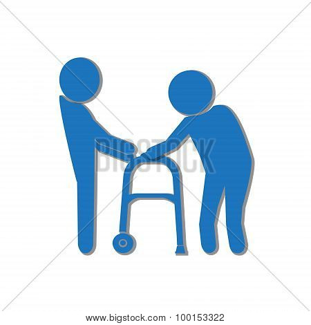 Man Helps Elderly Patient With A Walker Illustration