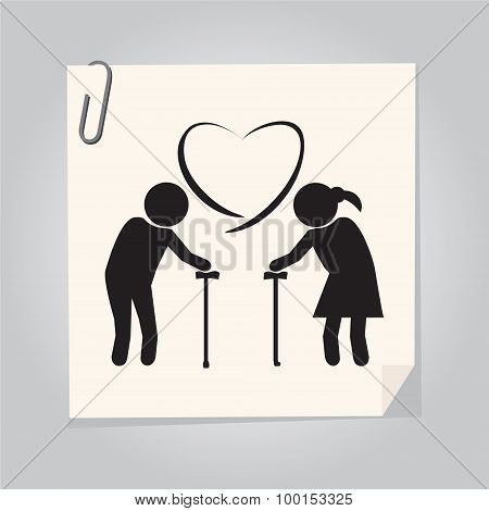 Elderly Couple Symbol. Old People Couple Illustration