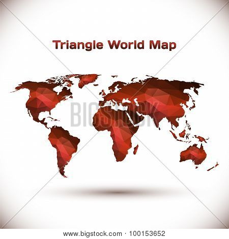 Triangle World Map Illustration in red