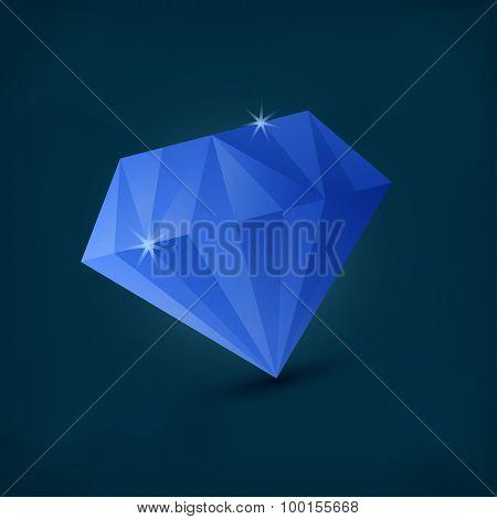 Blue Diamond on dark background, vector illustration