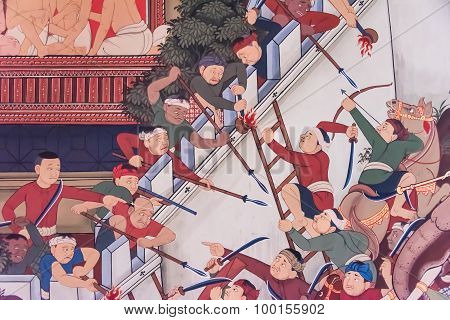 Ancient Historical Mural Painting Of The Great Epic, War Battle Between When Burmese (myanmar) Attac