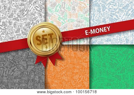 Set of e-money backgrounds with doodle icons in different colors