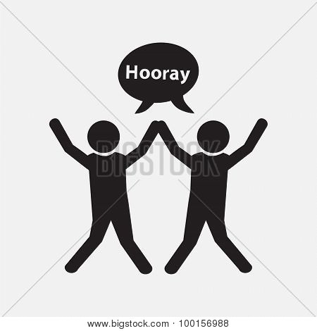 People With Hands Up And Happy Motion Vector Illustration