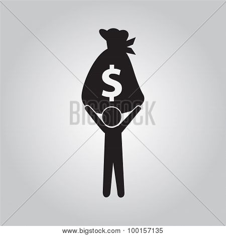 Man Carrying With A Bag Money Illustration