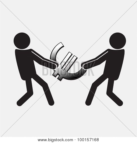 Two Man Pulling A Money Symbol Illustration