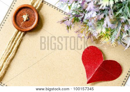Red Heart Paper And Blank Brown Tag