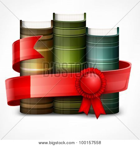 Stack Of Books With Ribbon