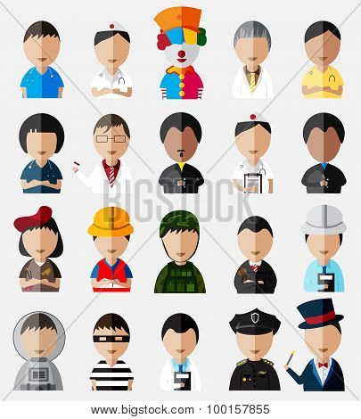 Upper Body Of Cute And Funny Cartoon Characters Dummy Icon Collection Set In Different Types Of Job