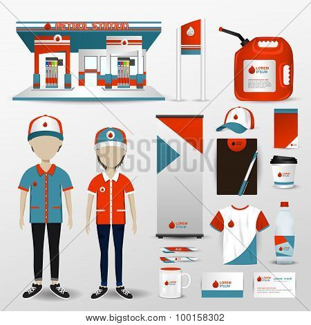 Gas Station Business Brand Design For Employee Uniform Clothes, Petrol Station Building, Promotion C