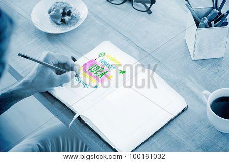Man writing notes on diary against idea buzzwords
