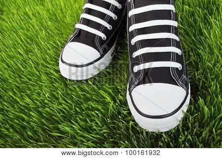 Sneakers In The Grass Field