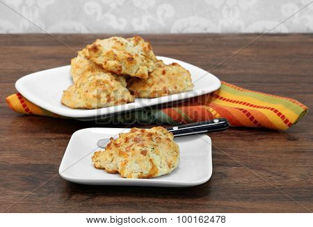 Cheddar Cheese And Garlic Biscuit On A Plate.