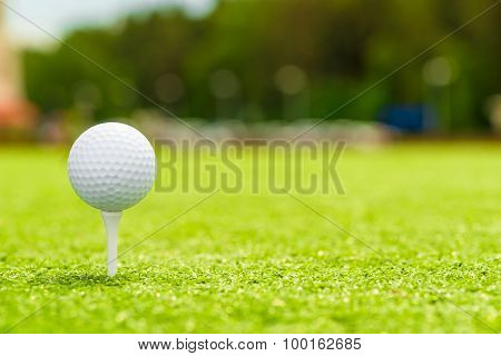 Golf Ball On The Tee Is The Right Space For Inscription