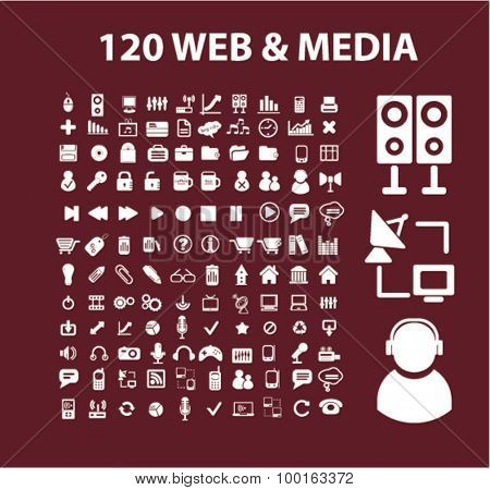 web, media, music, computer icons, signs, illustrations set, vector
