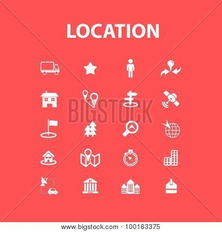 location, navigation, road icons, signs, illustrations set, vector