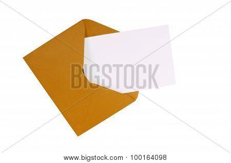 Brown Manila Envelope With Blank White Greeting Card
