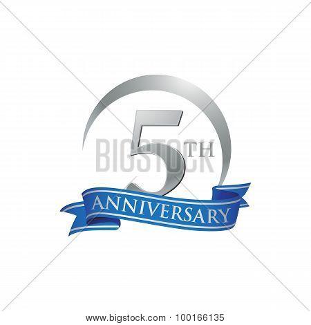5th anniversary ring logo blue ribbon
