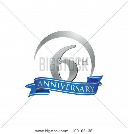 6th anniversary ring logo blue ribbon